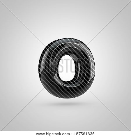 Black Carbon Letter O Lowercase Isolated On White Background