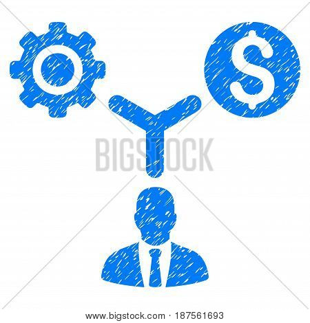 Grunge Business Scheme icon with grunge design and dust texture. Unclean vector blue pictogram for rubber seal stamp imitations and watermarks. Draft emblem symbol.