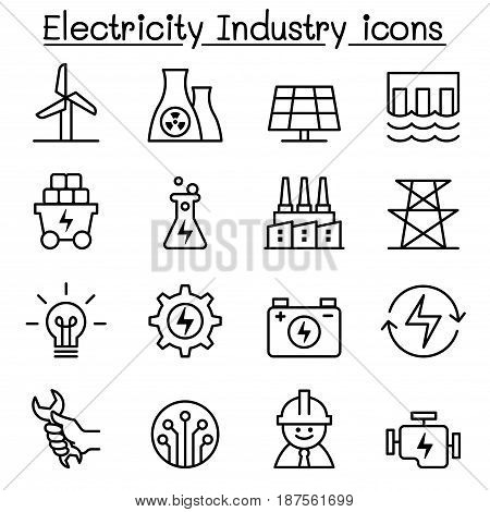 Electricity industry icon in thin line style Vector illustration Graphic design