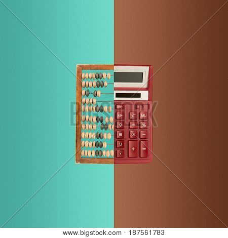The collage with old wooden abacus and new calculator on colored background. The concept of bookkeeping, business or saving money and old and new technologies