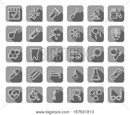 Medicine, icons, contour drawing, flat, gray, vector.  Medical services specialization. The profession of doctors. Medical instruments. White line images on a gray background with shadow.