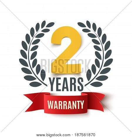 Two Years Warranty background with red ribbon and olive branch on white. Poster, label, badge or brochure template design. Vector illustration.