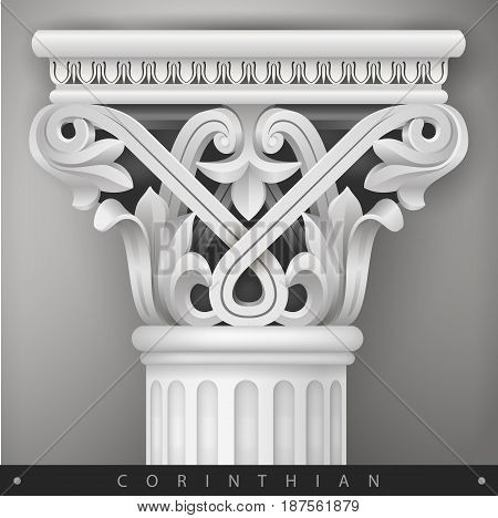 Stone Capital of the oriental column in the Corinthian style. Classical architectural support. Vector graphics