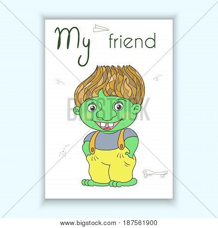 Cute hand drawn card with Cartoon green troll. Printable template