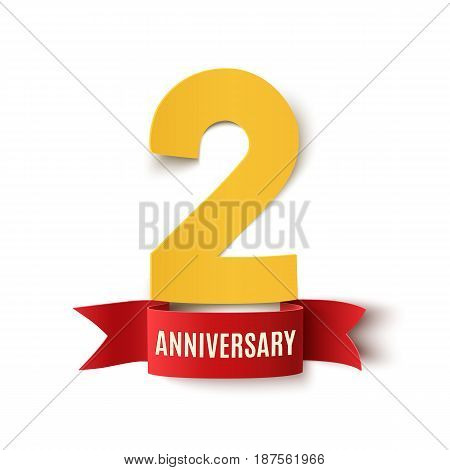 Two years anniversary design. Background with red ribbon on white.Greeting card, poster or brochure template. Vector illustration.