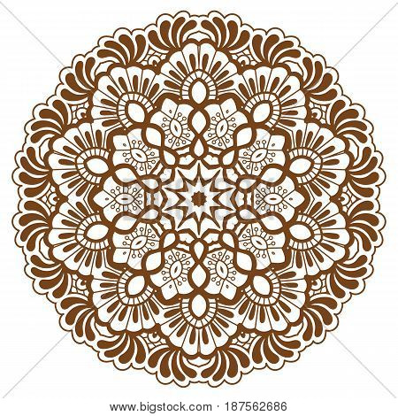 Round brown mandala design. Creative vector illustration