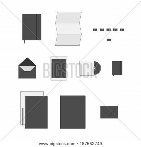 Office Supply vector flat Icons Set like a Paper Sheet, Clip, Folder, Note Book and other Objects