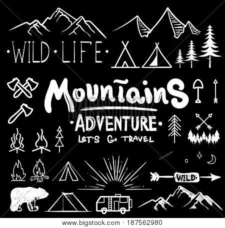 Black and white camping collection of icon made with ink and brush. Doodle style. Hand drawn set of adventure items. campfire, mountains, wildlife, bear, tent, fireplace, fire, trees
