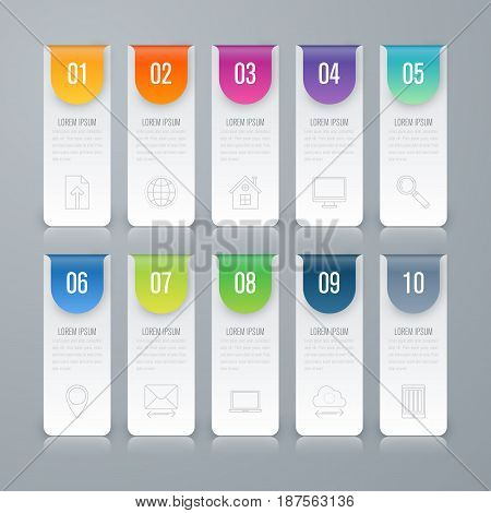 Infographic design template and business concept with 10 options, parts, steps or processes. Can be used for work flow layout, diagram, number options, web design.