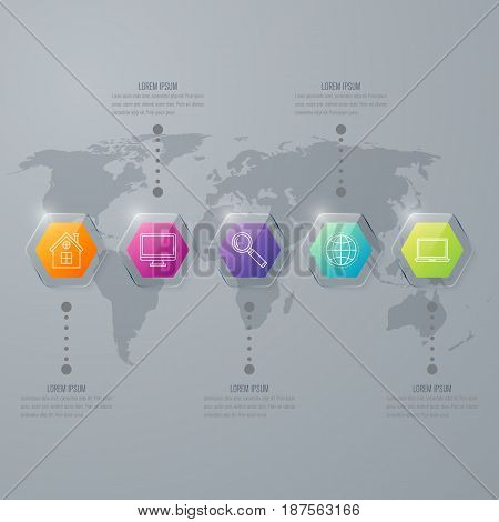 Infographic with hexagons on the grey background. Stock vector