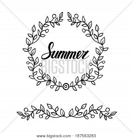 Round frame of leaves with lettering word summer. vector decorative element
