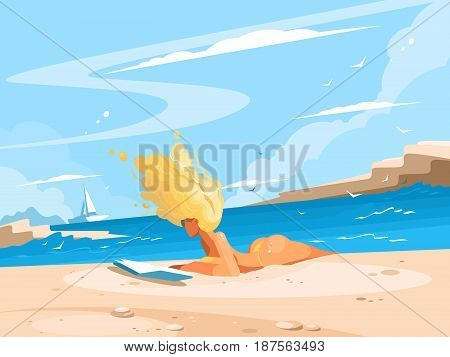 Young blond girl reading book on sunny beach. Vector illustration