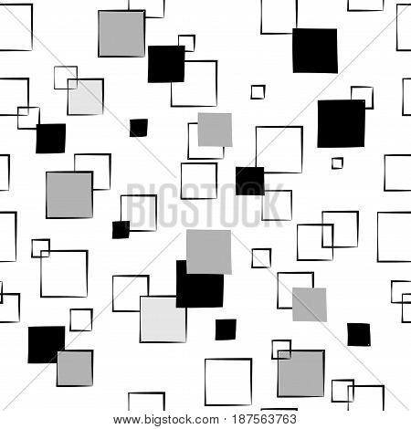 Square gray on white seamless pattern. Fashion graphic background design. Modern stylish abstract texture. Monochrome template for prints textiles wrapping wallpaper website. Vector illustration