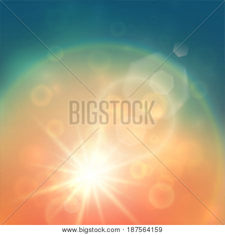 Retro looking summer background with lens flares and halo