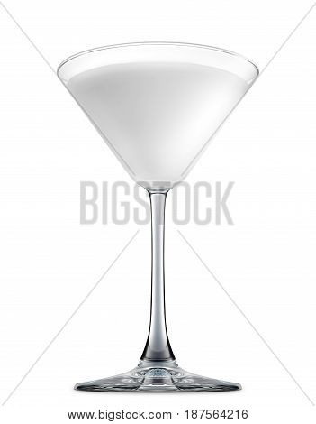 Pina colada or white russian cocktail or mocktail in martini glass isolated on white background