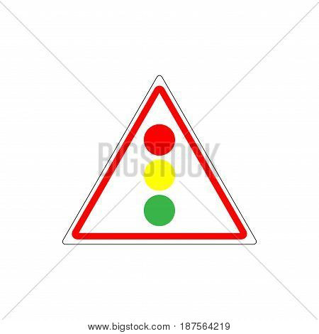 Stoplight sign. Traffic lights in red triangle on white background. Symbol regulate movement safety transportation on crossroads. Mark regulation and warning danger. Flat vector illustration.