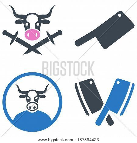 Bull Butchery flat vector illustration set. An isolated icons on a white background.