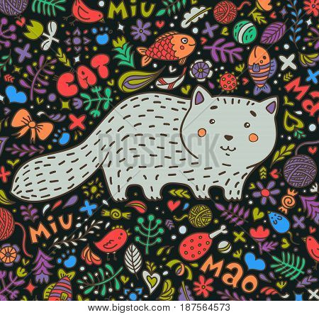 Hand-drawn illustration. A fat gray cat surrounded by flowers, fish, toys and other feline staff. Doodle style. On a dark background. Vector.
