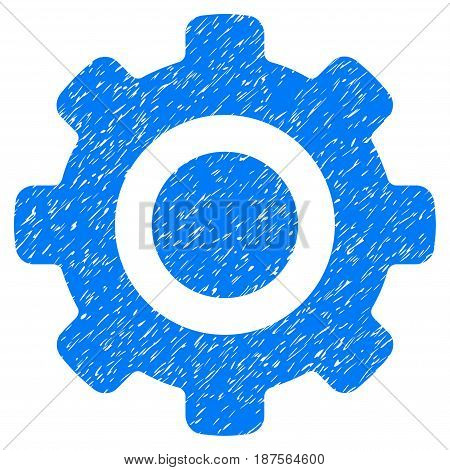 Grunge Gear icon with grunge design and dirty texture. Unclean vector blue pictogram for rubber seal stamp imitations and watermarks. Draft emblem symbol.
