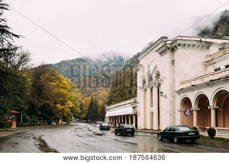 Borjomi, Samtskhe-Javakheti, Georgia - October 25, 2016: Cars Parked Near Borjomi Parki Railway Station Building In Autumn Day