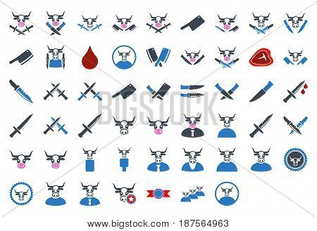 Butchery Tools flat vector illustration collection. An isolated icons on a white background.