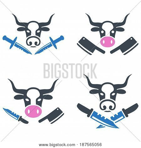 Butchery flat vector pictograph collection. An isolated icons on a white background.