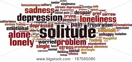 Solitude word cloud concept. Vector illustration on white