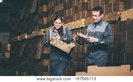 box making at a paper factory storage