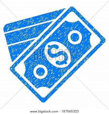 Grunge Money icon with grunge design and dust texture. Unclean vector blue pictogram for rubber seal stamp imitations and watermarks. Draft sign symbol.