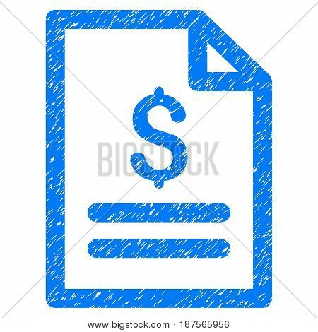 Grunge Price List icon with grunge design and dirty texture. Unclean vector blue pictogram for rubber seal stamp imitations and watermarks. Draft sticker symbol.