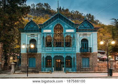 Borjomi, Samtskhe-Javakheti, Georgia - October 24, 2016: The Firuza Turquoise House Of Mirza-riza-khan Is A Monument Of Architecture Of The End Of The XIX Century. Famous Landmark At Autumn Evening.