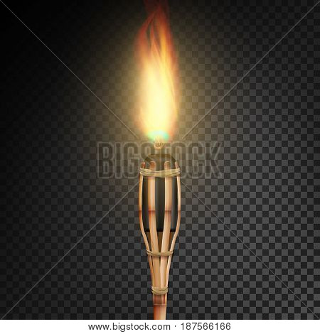 Burning Beach Bamboo Torch With Flame. Realistic Fire. Realistic Fire Torch Isolated On Transparent Background. Vector