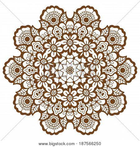 Round brown mandala design. Creative vector illustration