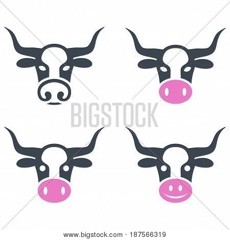 Cow Head flat vector illustration set. An isolated icons on a white background.