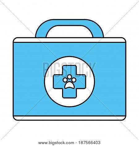 white and blue silhouette of cartoon medical veterinary bag vector illustration