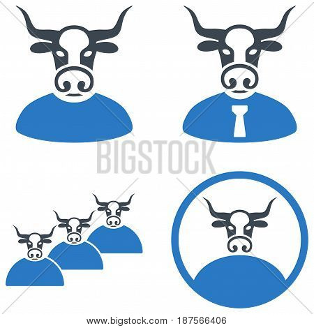Cow User flat vector pictogram set. An isolated icons on a white background.