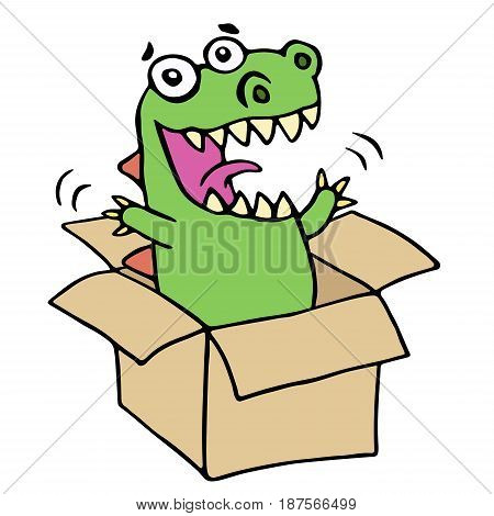 Funny dinosaur jumped out of the box. Vector illustration. Funny imaginary character.
