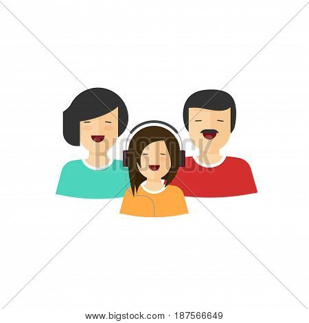 Happy family portrait view vector illustration, flat cartoon mother father and daughter characters with smiling faces, parents and child laughing