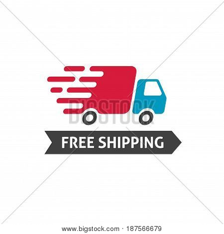 Free shipping icon vector, flat style truck moving fast and free shipping text label, fast delivery badge isolated on white