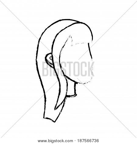 figure beauty woman face with hairstyle, vector illustration
