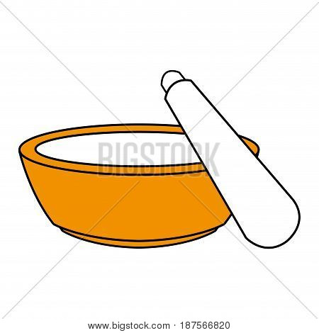 color silhouette with bowl and spatula for beauty treatment vector illustration