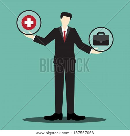 health and work businessman scale , balance life concept, concept of working more important than your health, vector illustration