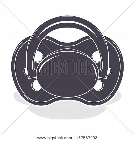 Baby pacifier with shadow, monochrome style, vector illustration