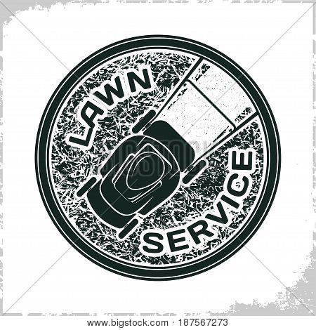 Vintage Lawn service logo design, monochrome style, vector