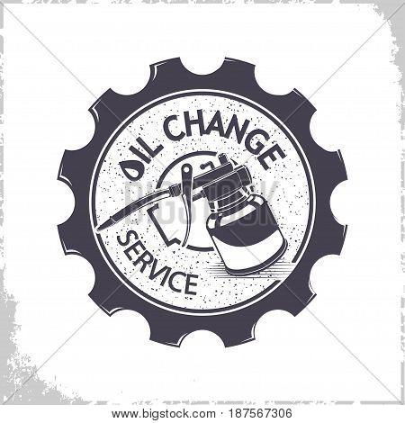 Vintage oil change services logo design, monochrome style, vector