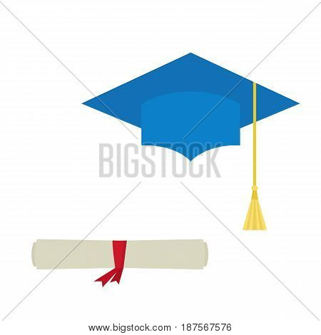 Blue graduation cap and diploma scroll isolated on white background. Mortarboard flat design vector illustration.