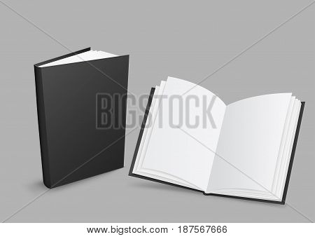 Standing closed and open black books with shadow on gray background. Empty cover template. Education literature symbol. Author writer show product