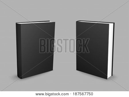 Standing closed black paper books with shadow on gray background. Empty cover template. Education literature symbol. Author writer show product