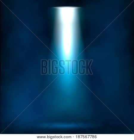 Ray of Light in Fog.Theater Stage Spotlight Shine in Fog. Illuminated theater scene, disco club scene.Theater scene in clouds fog illuminated by light projection.Ray Spotlight effect on Theater Stage