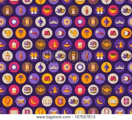 Seamless pattern with arabic flat icons and symbols. Vector illustration. Ramadan Kareem decorations, Eid Mubarak, Koran, traditional lanterns, dates, Iftar food, crescent and stars